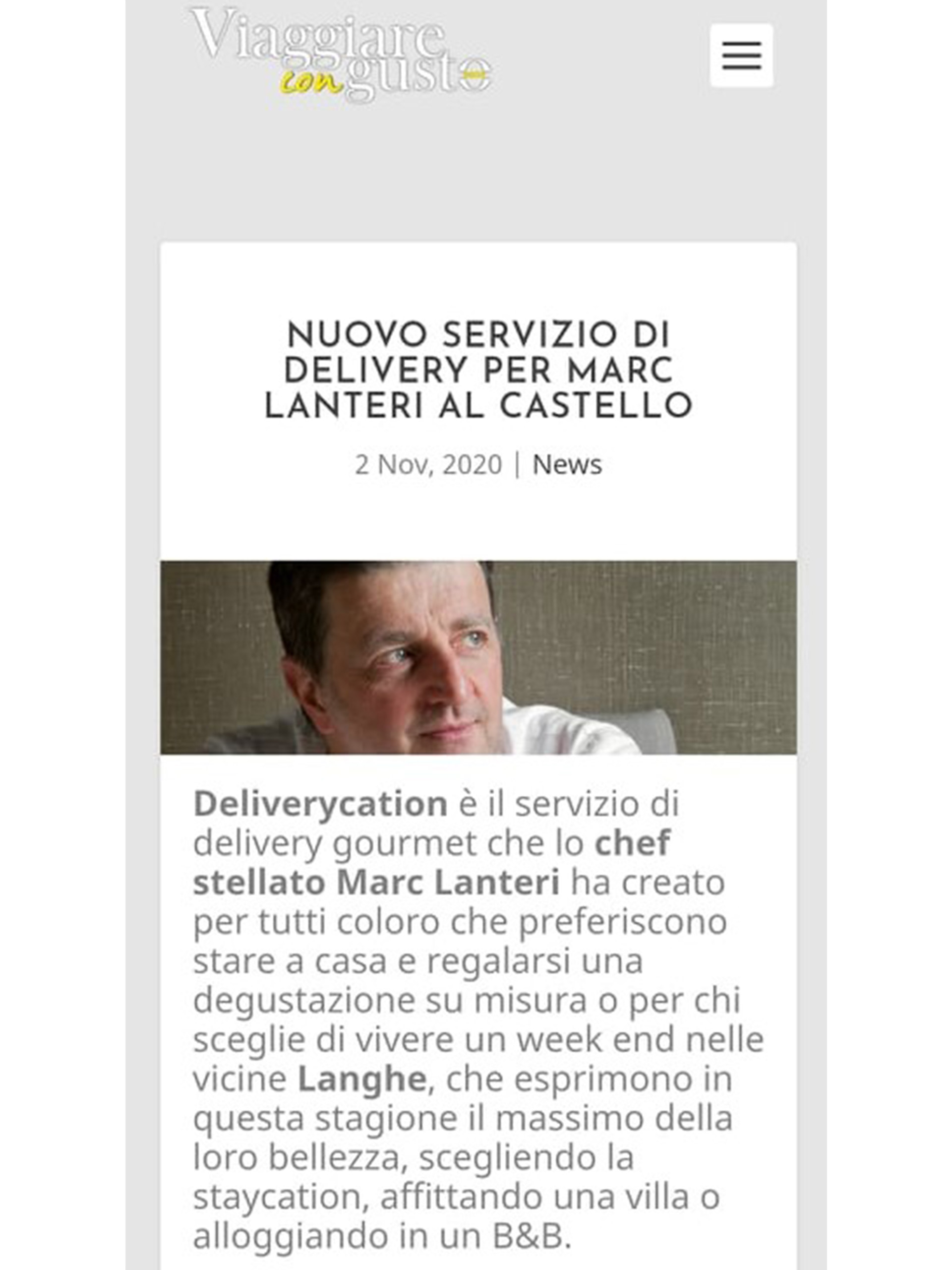 Marc Lanteri – Viaggiare con gusto sano – Novembre 2020