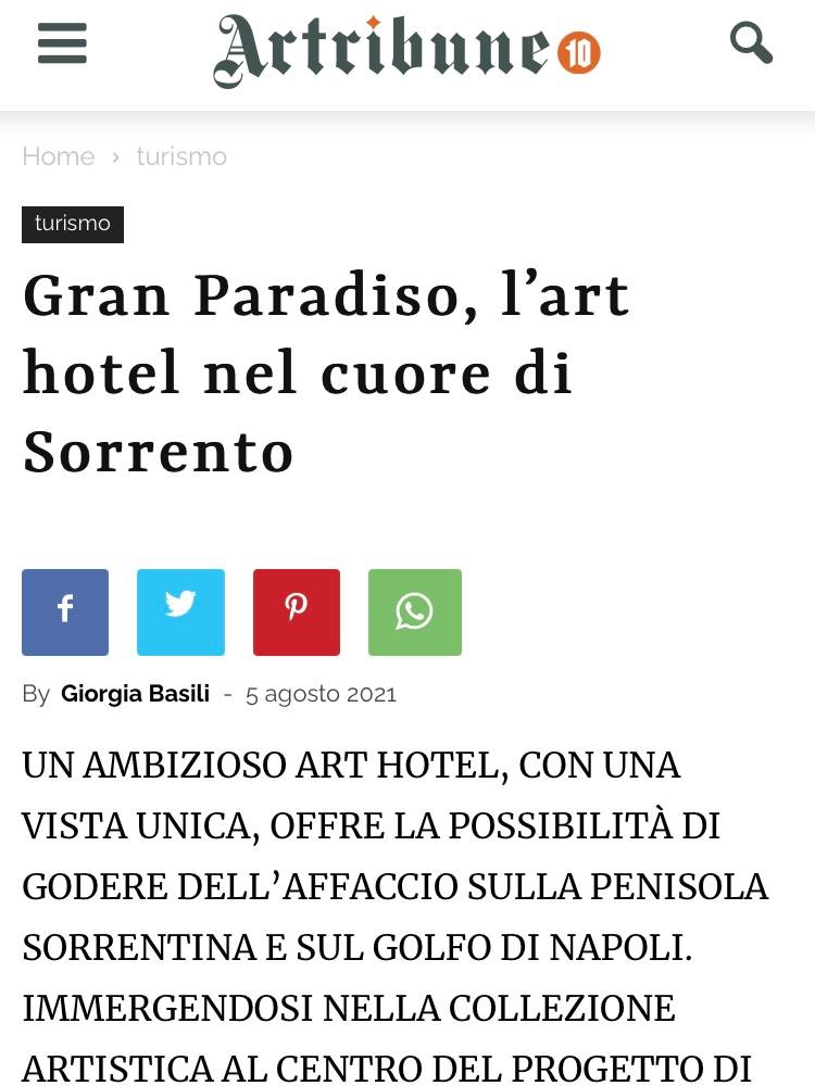 ART HOTEL GRAND PARADISO – ARTRIBUNE – AGOSTO 2021