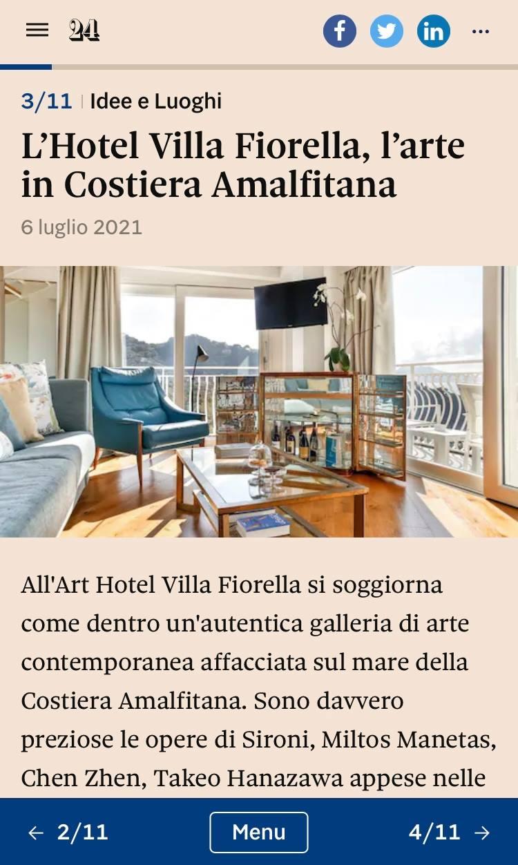 ART HOTEL VILLA FIORELLA – IL SOLE 24 ORE – LUGLIO 2021